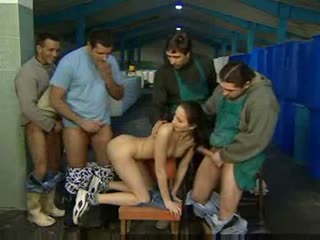 They strip the young lady and fuck her hard