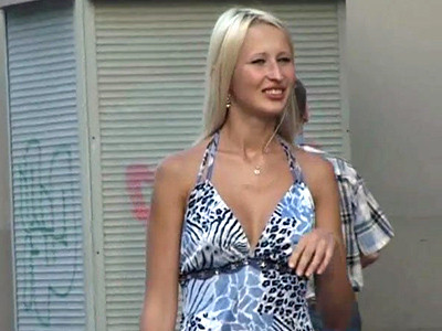 Blonde girl in a candid video
